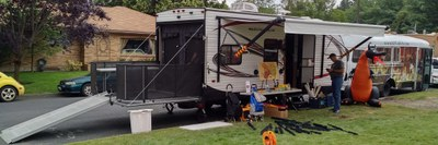 RPG Trailer prototype and RPG Bus setting up at SpoCon Game Day.